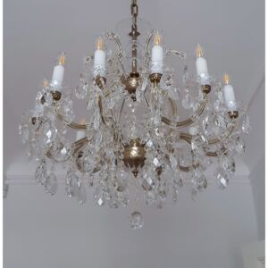 12-flame Theresian chandelier with crystal almonds - antique brass