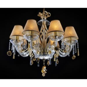 8-arm creamy crystal chandelier with glass shells & seahorse