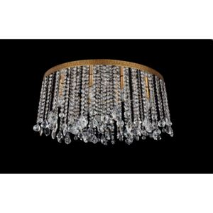 6-bulb surface-mounted oval ceiling lamp with strass stones - brown patina