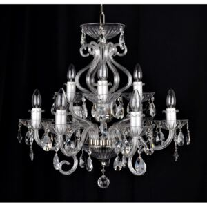 9-arm silver crystal chandelier with 6 glass horns & cut crystal almonds