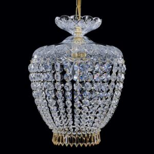 1-bulb cut crystal basket with cut drops in Topaz color
