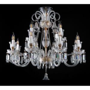 Golden 12-arm crystal chandelier in the style of Bohemian Baccarat