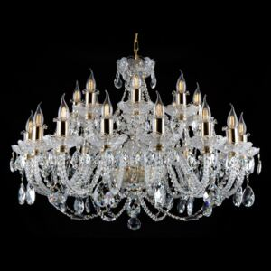 24-arm large Bohemian crystal chandelier with PK500 hand cut - Crystal almonds