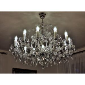 12-flame Maria Theresa silver crystal chandelier with adjustment for low ceiling