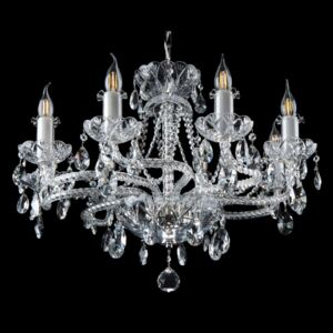 8-arm silver crystal chandelier with twisted glass arms clockwise, full-cut crystal glass