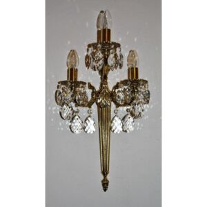 3-arm high wall light made of shiny cast brass decorated with almonds