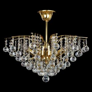 6-bulb gold crown ceiling lamp with crystal balls