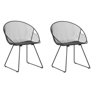 Set of 2 Dining Chairs Black Metal Frame Faux Leather Seat Modern Industrial Design Beliani