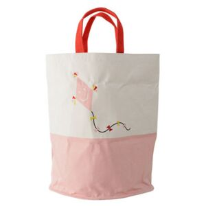 Basket - Fabric - Ø 40 x H 50 cm by Bloomingville White/Pink/Red