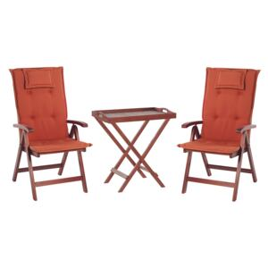 Garden Bistro Set Dark Acacia Wood with Red Cushions Tea Table 2 Folding Chairs UV Resistant Beliani