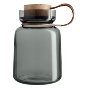 Silhouette Airtight jar - / 1L - Leather, wood & glass by Eva Solo Grey/Natural wood