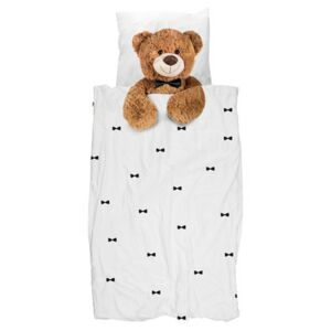 Teddy Bedlinen set for 1 person - 135 x 200 cm by Snurk White/Brown