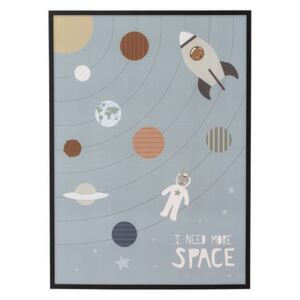 I need More Space Framed poster - / L 52 x H 72 cm - Pine frame by Bloomingville Multicoloured