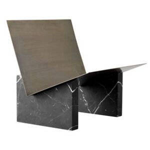 Monuments Magazine holder - / Marble and brass by Menu Black/Metal