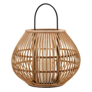 Striped Apple Lantern - / Bamboo - H 46 cm by Pols Potten Beige/Natural wood