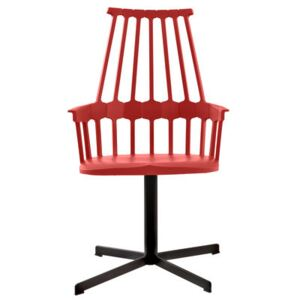 Comback Swivel armchair - Polycarbonate & metal leg by Kartell Red