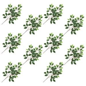 Artificial Leaves Ficus 10 pcs Green and White 65 cm