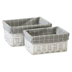 Set of 2 White Willow Lined Baskets