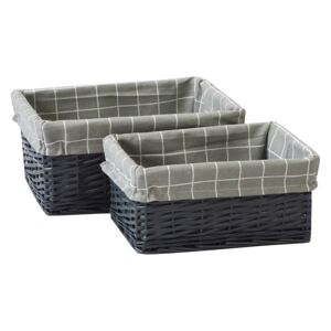 Set of 2 Grey Willow Lined Baskets