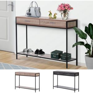 HOMCOM Console Table Worktop Bottom Shelf Industrial Minimal Style Two Drawer Home