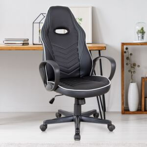 Vinsetto Executive PU Leather Office Gaming Chair Adjustable Height Padded Seat w/ Wheels White