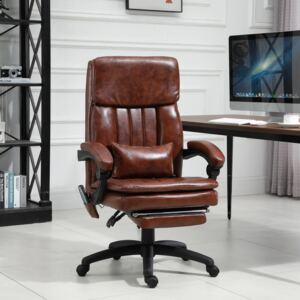 Vinsetto Faux Leather Armchair Adjustable Heated & Massaging Office Chair w/ Lumbar and Leg Support - Brown