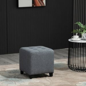 HOMCOM Vintage Ottoman Linen-Touch Fabric Upholstered Footstool Footrest Coffee Table, Grey