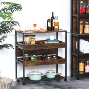 HOMCOM 4-Tier Kitchen Cart Storage Trolley with Wheels Shelves and Brakes Industrial Style, Kitchen, Dining & Living Room