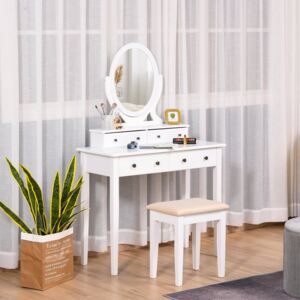 HOMCOM Vanity Dressing Table with Mirror and Cushioned Stool, 360° Rotating Oval Makeup Mirror, Makeup Desk Dresser with 4 Drawers, White
