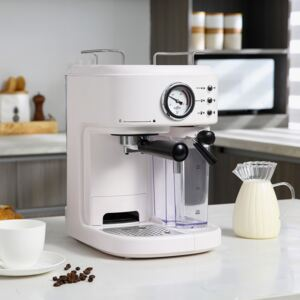 HOMCOM 5Pc Coffee Machine, Espresso & Cappuccino & Latte Maker with Milk Frothing Steamer, 1.5L Removable Water Tank, 2 Cups, 1250W