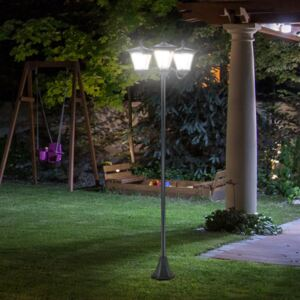 Outsunny 3-Solar Powered Lamp Post, IP44, 51.5Lx47Wx182.5H cm-Black