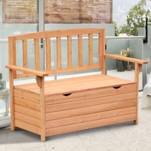 Outsunny Outdoor Garden Storage Bench Patio Box All Weather Deck Fir Wood Solid Seating