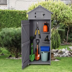 Outsunny Garden Shed, Water-resistant Spire Roof, Pine/Cedarwood-Grey