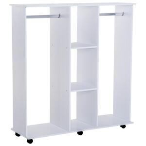 HOMCOM Open Wardrobe Storage Double Rails Black Mobile With Clothes Hanging Shelves Organizer Bedroom Furniture