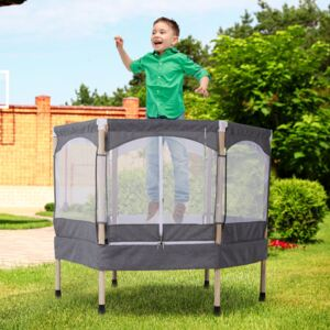 HOMCOM Kids 50-inch Outdoor Trampoline w/ Safety Enclosure Net and Spring Pad Grey