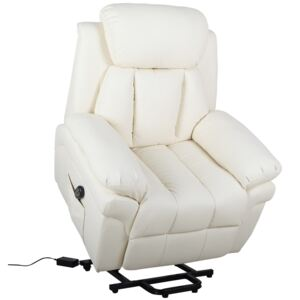 HOMCOM Recliner Lift Stand Assistance Chair Extra Padded Design Electric Power w/ Remote PU Leather