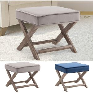 HOMCOM Vintage Padded Seat Footstool Chair Velvet Cover X Shape Solid Rubber Wood Footrest