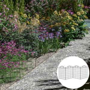 Outsunny Garden Decorative Fence 4 Panels 44in x 12ft Metal Wire Landscape Border Edging
