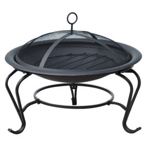 Outsunny Outdoor Fire Pit, 56 x 45H cm (Lid Included)-Black/Blue