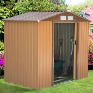 Outsunny Lockable Garden Shed Large Patio Roofed Tool Metal Storage Building Foundation Sheds Box Outdoor Furniture (7ft x 4ft, Khaki)