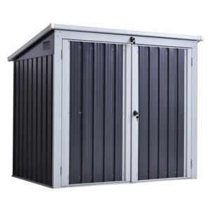 Outsunny Outdoor Steel Garden Storage Shed With Double Door & Lid Dustbin Rubbish Cover for 2 Trash Cans