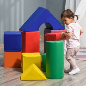 HOMCOM 11 Piece Soft Play Blocks Kids Climb and Crawl Gym Toy Foam Building and Stacking Blocks Non-Toxic Learning Play Set Activity Toy Brick
