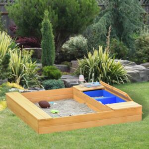 Outsunny Wooden Kids Sandpit Children Outdoor Square Sandbox with 2 Side Buckets Bench