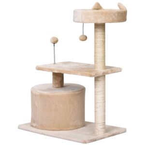 PawHut Cats 3-Tier Sisal Rope Scratching Post w/ Toys Beige