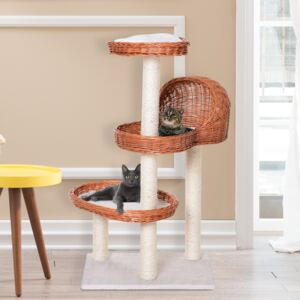 PawHut Cats 3-Tier Sisal Rope Scratching Post w/ Wicker Bed Grey