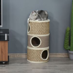 PawHut Cat Scratching Barrel Kitten Tree Tower Pet Furniture Climbing Frame Covered with Sisal and Seaweed Rope Cozy Platform Soft Plush