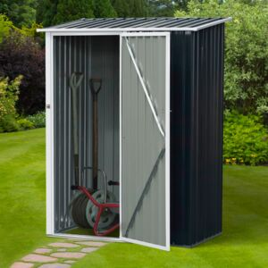 Outsunny Corrugated Steel Sloped Roof Outdoor Garden Shed Grey
