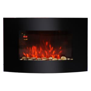 HOMCOM LED Curved Glass Electric Wall Mounted Fire Place, 1000/2000W