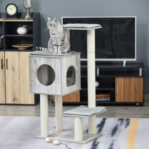 PawHut Multi-Level Cat Tree Tower Activity Center Climbing Stand Kitten House Furniture with Scratching Posts Condo Perch Plush Cushion Grey