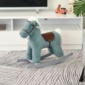 HOMCOM Kids Plush Ride-On Rocking Horse Toy Rocker with Plush Toy Realistic Sounds for Child 18-36 Months Blue